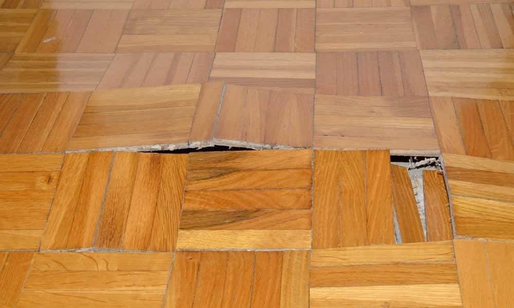 water damage on floors
